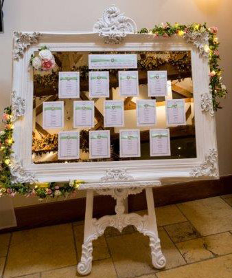 Easel with mirror displaying seating arrangements