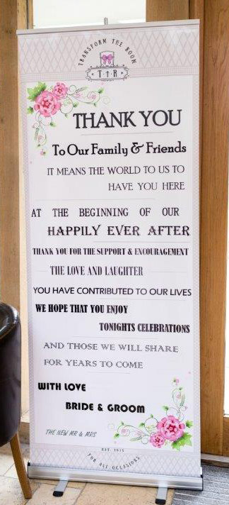 Sign Thanking friends and family for attending wedding
