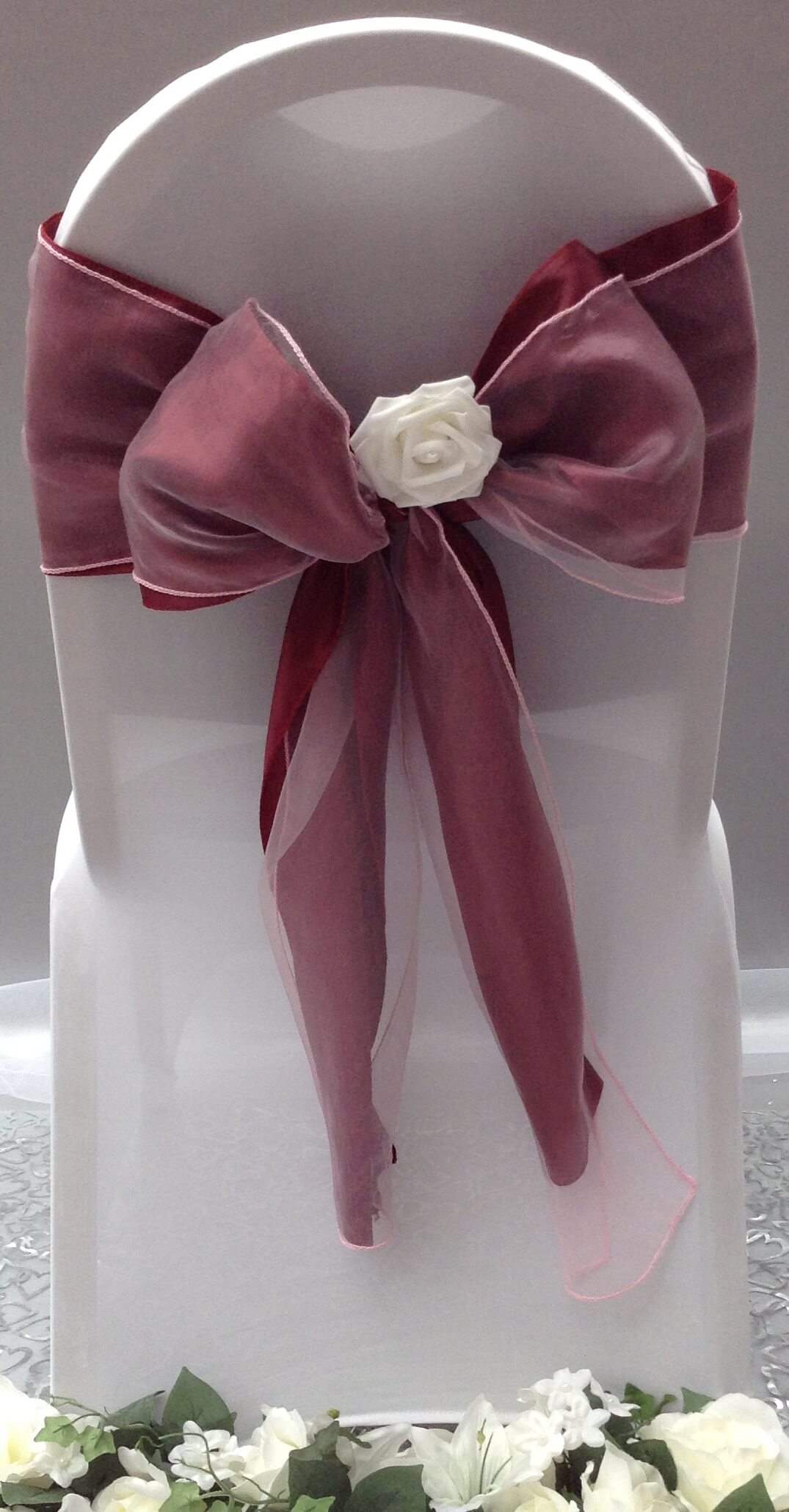 burgundy satin sash with pink organza sash