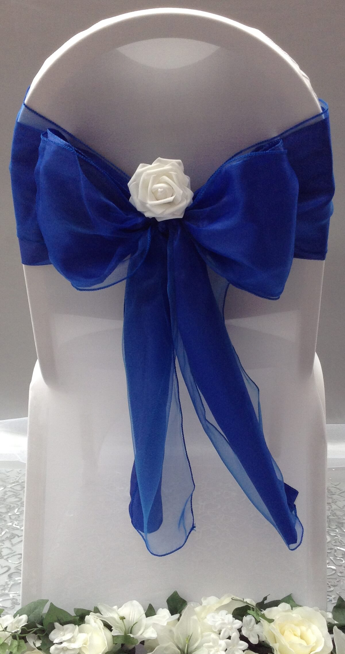 Royal blue satin sash with blue organza sash